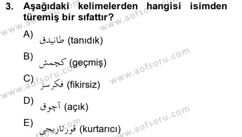 Osmanlı Türkçesine Giriş 2 Dersi 2012 - 2013 Yılı (Final) Dönem Sonu Sınav Soruları 3. Soru