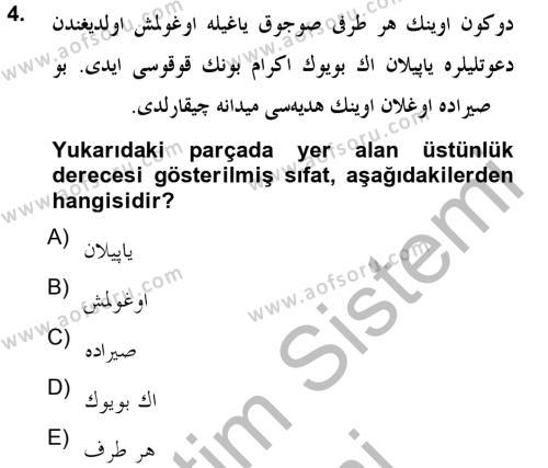 Osmanlı Türkçesine Giriş 2 Dersi 2012 - 2013 Yılı (Final) Dönem Sonu Sınav Soruları 4. Soru