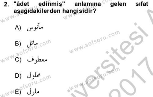 Osmanlı Türkçesine Giriş 2 Dersi 2016 - 2017 Yılı (Vize) Ara Sınav Soruları 2. Soru