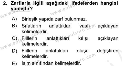Osmanlı Türkçesine Giriş 2 Dersi 2017 - 2018 Yılı (Final) Dönem Sonu Sınav Soruları 2. Soru
