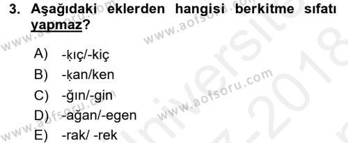 Osmanlı Türkçesine Giriş 2 Dersi 2017 - 2018 Yılı (Final) Dönem Sonu Sınav Soruları 3. Soru