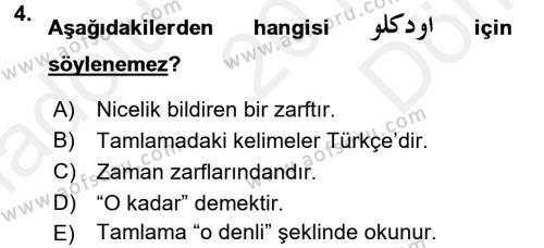 Osmanlı Türkçesine Giriş 2 Dersi 2017 - 2018 Yılı (Final) Dönem Sonu Sınav Soruları 4. Soru