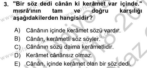 Osmanlı Türkçesine Giriş 2 Dersi 2018 - 2019 Yılı Yaz Okulu Sınav Soruları 3. Soru