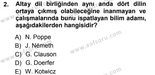 Orhon Türkçesi Dersi 2012 - 2013 Yılı (Vize) Ara Sınav Soruları 2. Soru