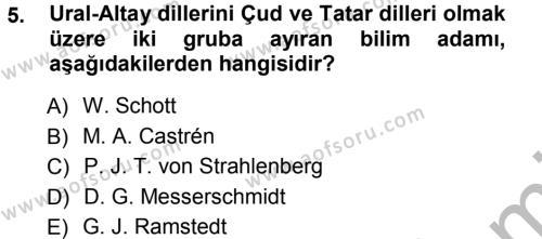 Türk Dili ve Edebiyatı Bölümü 3. Yarıyıl Orhon Türkçesi Dersi 2013 Yılı Güz Dönemi Ara Sınavı 5. Soru
