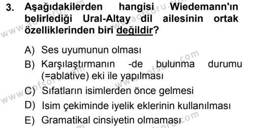 Türk Dili ve Edebiyatı Bölümü 3. Yarıyıl Orhon Türkçesi Dersi 2013 Yılı Güz Dönemi Dönem Sonu Sınavı 3. Soru
