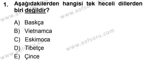 Türk Dili ve Edebiyatı Bölümü 3. Yarıyıl Orhon Türkçesi Dersi 2014 Yılı Güz Dönemi Ara Sınavı 1. Soru