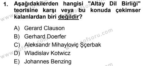 Orhon Türkçesi Dersi 2013 - 2014 Yılı (Final) Dönem Sonu Sınav Soruları 1. Soru