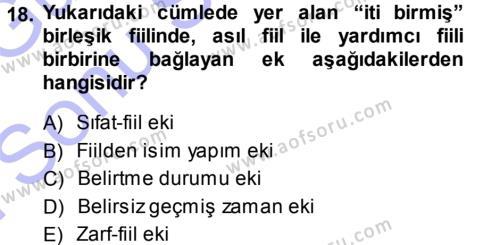 Orhon Türkçesi Dersi Dönem Sonu Sınavı Deneme Sınav Soruları 18. Soru