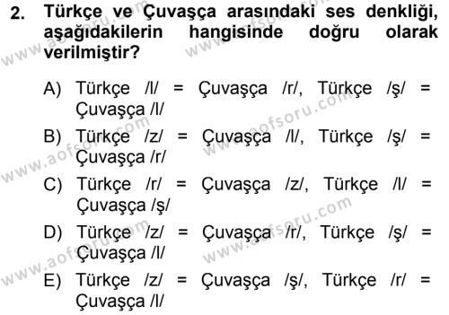 Orhon Türkçesi Dersi 2013 - 2014 Yılı (Final) Dönem Sonu Sınav Soruları 2. Soru