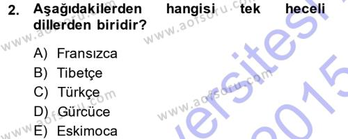 Orhon Türkçesi Dersi 2014 - 2015 Yılı (Vize) Ara Sınav Soruları 2. Soru