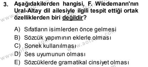 Orhon Türkçesi Dersi 2014 - 2015 Yılı (Vize) Ara Sınav Soruları 3. Soru