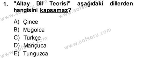 Türk Dili ve Edebiyatı Bölümü 3. Yarıyıl Orhon Türkçesi Dersi 2015 Yılı Güz Dönemi Dönem Sonu Sınavı 1. Soru