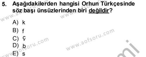 Türk Dili ve Edebiyatı Bölümü 3. Yarıyıl Orhon Türkçesi Dersi 2015 Yılı Güz Dönemi Dönem Sonu Sınavı 5. Soru