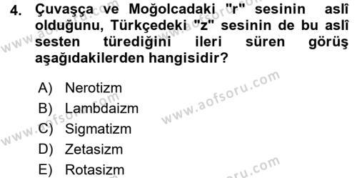 Orhon Türkçesi Dersi 2015 - 2016 Yılı Ara Sınavı 4. Soru