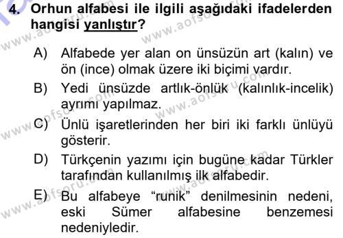Orhon Türkçesi Dersi 2015 - 2016 Yılı (Final) Dönem Sonu Sınav Soruları 4. Soru