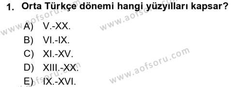 Orhon Türkçesi Dersi 2016 - 2017 Yılı (Vize) Ara Sınav Soruları 1. Soru