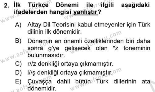 Orhon Türkçesi Dersi 2016 - 2017 Yılı (Vize) Ara Sınav Soruları 2. Soru