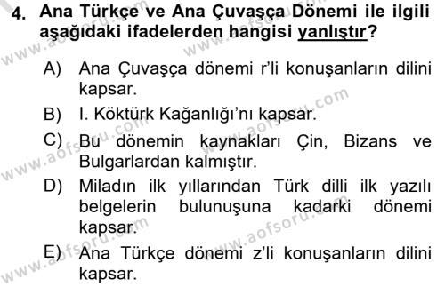 Orhon Türkçesi Dersi 2016 - 2017 Yılı (Vize) Ara Sınav Soruları 4. Soru