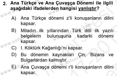 Orhon Türkçesi Dersi 2017 - 2018 Yılı (Final) Dönem Sonu Sınav Soruları 2. Soru