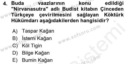 Orhon Türkçesi Dersi 2017 - 2018 Yılı (Final) Dönem Sonu Sınav Soruları 4. Soru