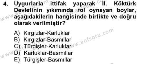 Türk Dili ve Edebiyatı Bölümü 4. Yarıyıl Uygur Türkçesi Dersi 2013 Yılı Bahar Dönemi Ara Sınavı 4. Soru