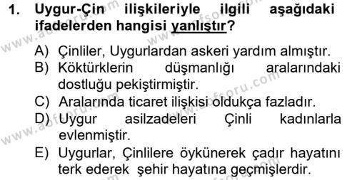Türk Dili ve Edebiyatı Bölümü 4. Yarıyıl Uygur Türkçesi Dersi 2013 Yılı Bahar Dönemi Dönem Sonu Sınavı 1. Soru