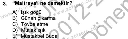 Türk Dili ve Edebiyatı Bölümü 4. Yarıyıl Uygur Türkçesi Dersi 2013 Yılı Bahar Dönemi Dönem Sonu Sınavı 3. Soru