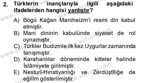 Türk Dili ve Edebiyatı Bölümü 4. Yarıyıl Uygur Türkçesi Dersi 2014 Yılı Bahar Dönemi Ara Sınavı 2. Soru