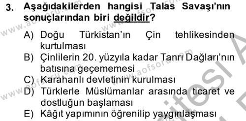 Uygur Türkçesi Dersi 2013 - 2014 Yılı Ara Sınavı 3. Soru
