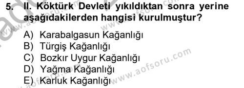 Türk Dili ve Edebiyatı Bölümü 4. Yarıyıl Uygur Türkçesi Dersi 2014 Yılı Bahar Dönemi Ara Sınavı 5. Soru