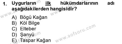 Türk Dili ve Edebiyatı Bölümü 4. Yarıyıl Uygur Türkçesi Dersi 2015 Yılı Bahar Dönemi Dönem Sonu Sınavı 1. Soru