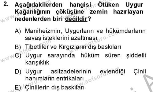 Türk Dili ve Edebiyatı Bölümü 4. Yarıyıl Uygur Türkçesi Dersi 2015 Yılı Bahar Dönemi Dönem Sonu Sınavı 2. Soru