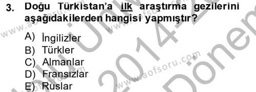 Uygur Türkçesi Dersi 2014 - 2015 Yılı Dönem Sonu Sınavı 3. Soru