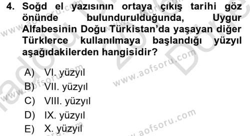 Uygur Türkçesi Dersi 2016 - 2017 Yılı (Final) Dönem Sonu Sınav Soruları 4. Soru