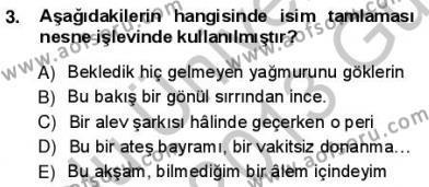 Türkçe Cümle Bilgisi 1 Dersi 2012 - 2013 Yılı (Vize) Ara Sınav Soruları 3. Soru