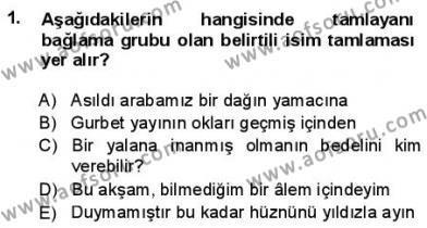 Türkçe Cümle Bilgisi 1 Dersi 2012 - 2013 Yılı (Final) Dönem Sonu Sınav Soruları 1. Soru