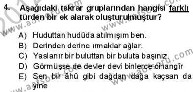 Türkçe Cümle Bilgisi 1 Dersi 2012 - 2013 Yılı (Final) Dönem Sonu Sınav Soruları 4. Soru