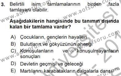 Türk Dili ve Edebiyatı Bölümü 3. Yarıyıl Türkçe Cümle Bilgisi I Dersi 2016 Yılı Güz Dönemi Ara Sınavı 3. Soru