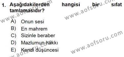Türkçe Cümle Bilgisi 1 Dersi 2015 - 2016 Yılı Dönem Sonu Sınavı 1. Soru