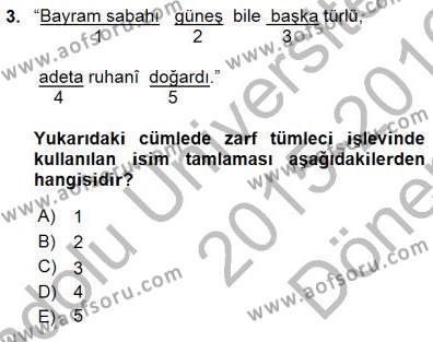 Türk Dili ve Edebiyatı Bölümü 3. Yarıyıl Türkçe Cümle Bilgisi I Dersi 2016 Yılı Güz Dönemi Dönem Sonu Sınavı 3. Soru