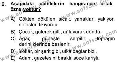 Türkçe Cümle Bilgisi 2 Dersi 2013 - 2014 Yılı (Vize) Ara Sınav Soruları 2. Soru