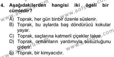 Türkçe Cümle Bilgisi 2 Dersi 2013 - 2014 Yılı (Vize) Ara Sınav Soruları 4. Soru