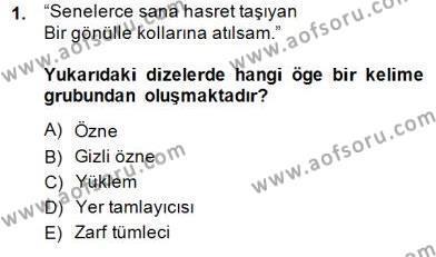 Türkçe Cümle Bilgisi 2 Dersi 2014 - 2015 Yılı (Final) Dönem Sonu Sınav Soruları 1. Soru