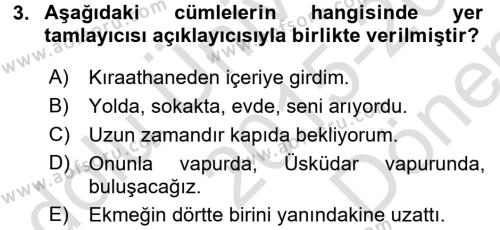 Türkçe Cümle Bilgisi 2 Dersi 2015 - 2016 Yılı (Final) Dönem Sonu Sınav Soruları 3. Soru