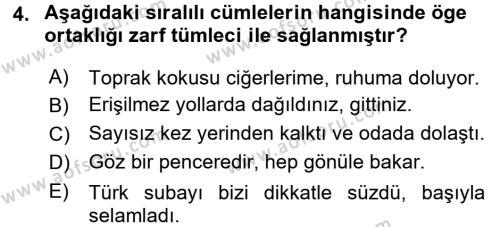 Türkçe Cümle Bilgisi 2 Dersi 2015 - 2016 Yılı (Final) Dönem Sonu Sınav Soruları 4. Soru