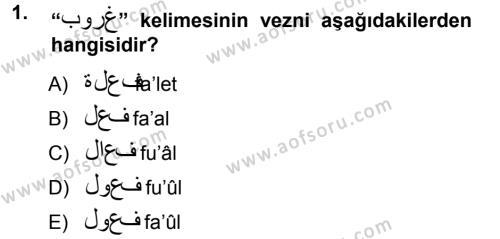 Türk Dili ve Edebiyatı Bölümü 3. Yarıyıl Osmanlı Türkçesi Grameri I Dersi 2013 Yılı Güz Dönemi Ara Sınavı 1. Soru