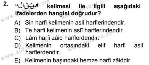 Türk Dili ve Edebiyatı Bölümü 3. Yarıyıl Osmanlı Türkçesi Grameri I Dersi 2013 Yılı Güz Dönemi Ara Sınavı 2. Soru
