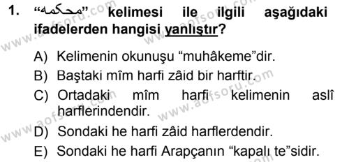 Osmanlı Türkçesi Grameri 1 Dersi 2012 - 2013 Yılı (Final) Dönem Sonu Sınav Soruları 1. Soru