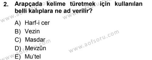 Osmanlı Türkçesi Grameri 1 Dersi 2012 - 2013 Yılı (Final) Dönem Sonu Sınav Soruları 2. Soru